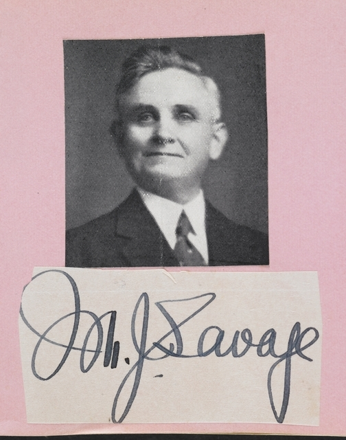 M J Savage's autograph, autograph album, 1930s, New Zealand, maker unknown, Benjamin Roberts. Gift of anonymous donors, 2007. Te Papa (GH011638)
