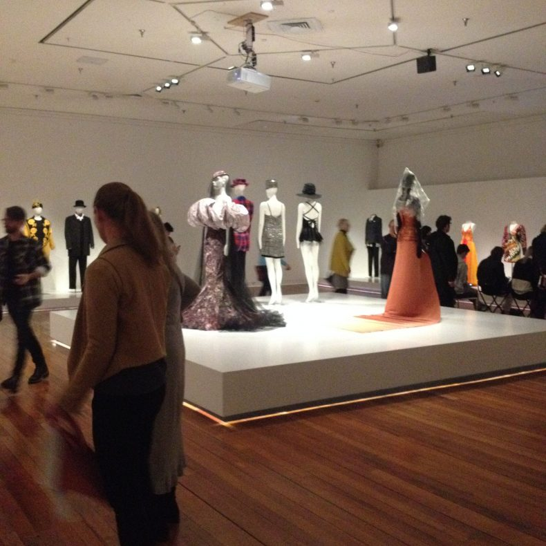 Dresses on display at the When Dreams Turn to Gold exhibition