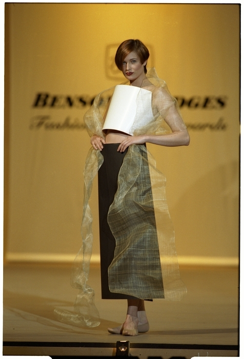 A model wears the Avant Garde Award winning garment by Denise L'Estrange-Corbet and Francis Hooper
