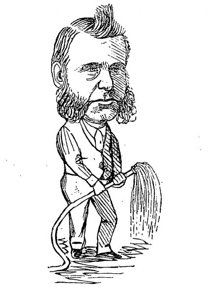 Coombes as depicted in Observer, Volume 5, Issue 130, 3 March 1883. He is holding a hose, as he was well known for hosing down the path outside his store to prevent dust.