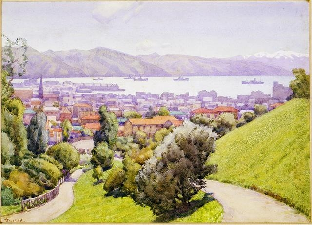Untitled (View of Wellington), from an illuminated address to the Rt Hon Viscount Galway, 1935, New Zealand, by Nugent Welch. Gift of the National Museum, New Zealand, 1983. Te Papa (1983-0014-1)