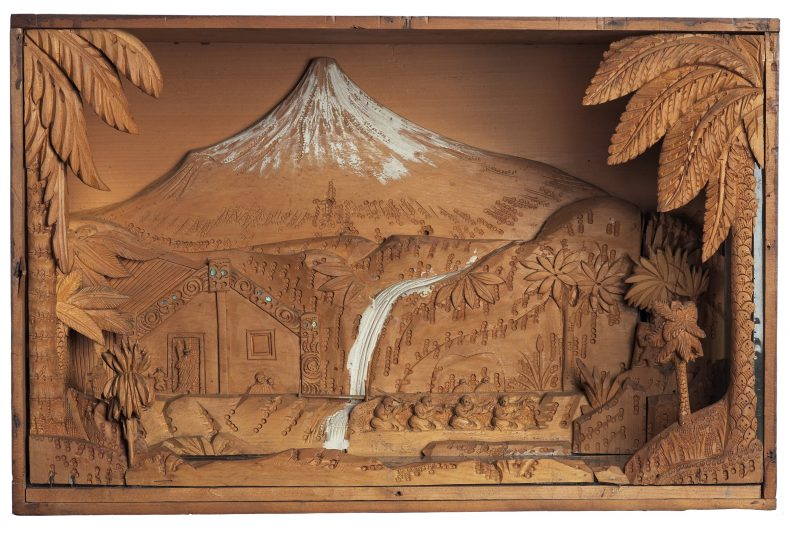 Carving, scene, circa 1905, Wellington, by William Gee. Gift of Mrs G. M. Williams, 1965. CC BY-NC-ND licence. Te Papa (GH007416)