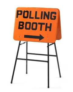 Sign, 'Polling Booth', 1969, New Zealand, by Ministry of Justice. Gift of Chief Electoral Office, Ministry of Justice, 2007. CC BY-NC-ND licence. Te Papa (GH011741)