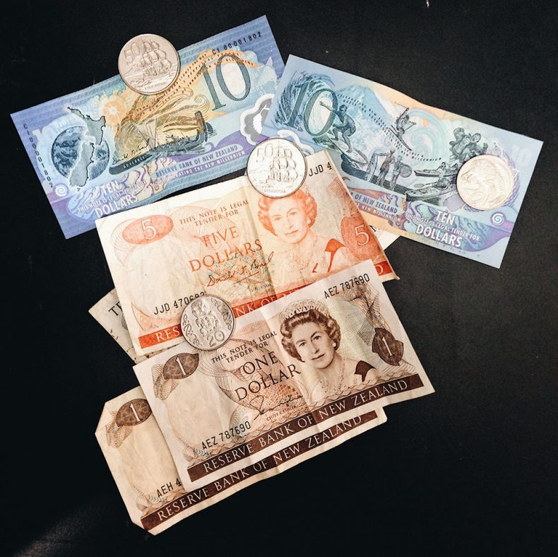 The 'Millennium' $10 issued in 2009 (top) alongside a $1 note, withdrawn from circulation in 1991, and the 50c coin, which was replaced in 2006 with the now-used smaller design.