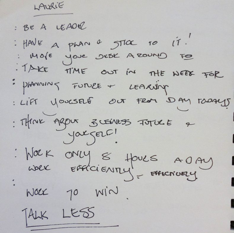 Text from Laurie Foon notebook