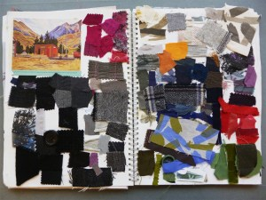 Heirloom workbook featuring fabric scraps and a postcard of a painting by RIta Angus