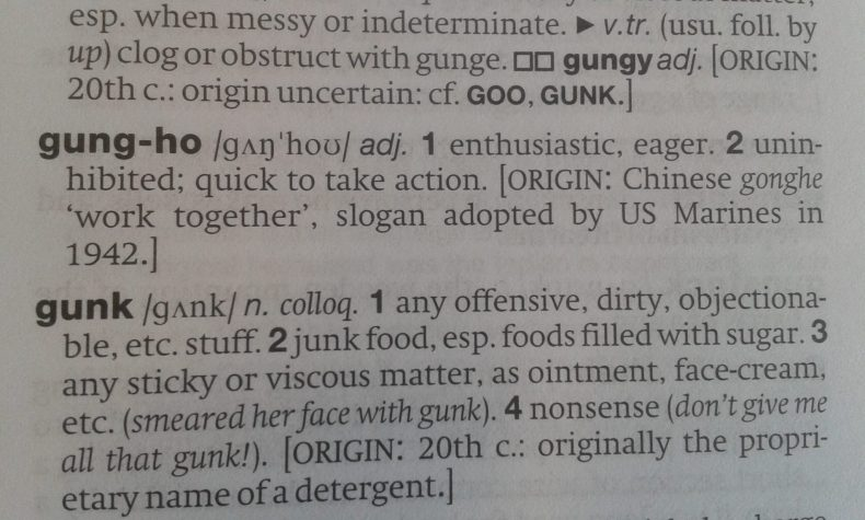 Photograph of an excerpt of a dictionary displaying the definition of gung-ho