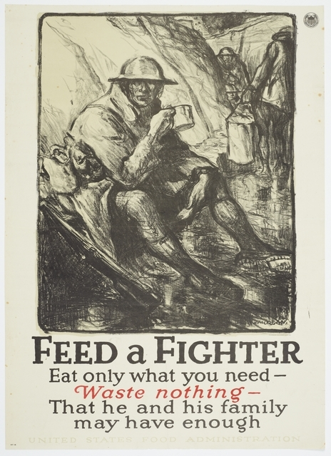 Poster featuring a black and white drawing of a soldier sitting in a trench having a cup of tea. Text: 'Feed a Fighter'.
