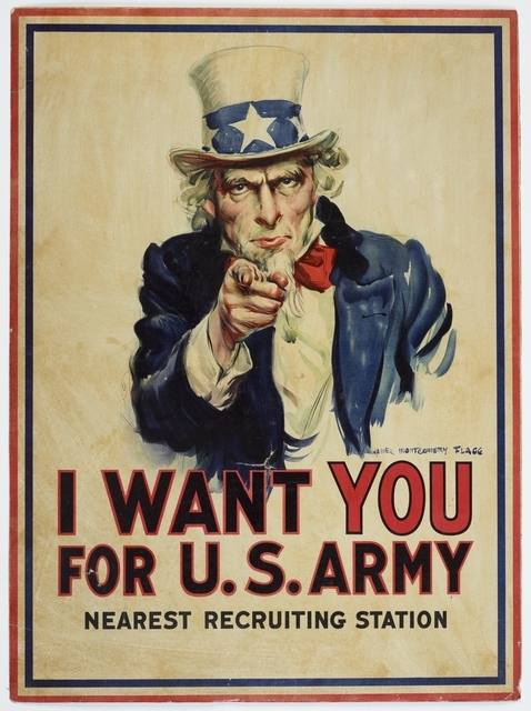 Poster featuring Uncle Sam pointing a finger the viewer. Text says 'I Want You For U.S. Army'