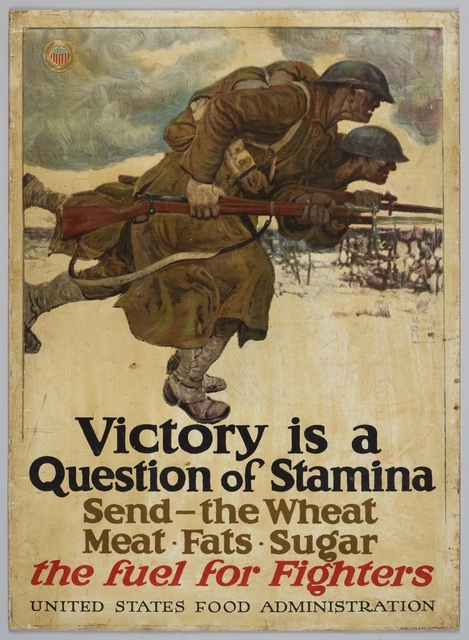 Poster featuring two soldiers running with guns. Text: 'Victory is a Question of Stamina'