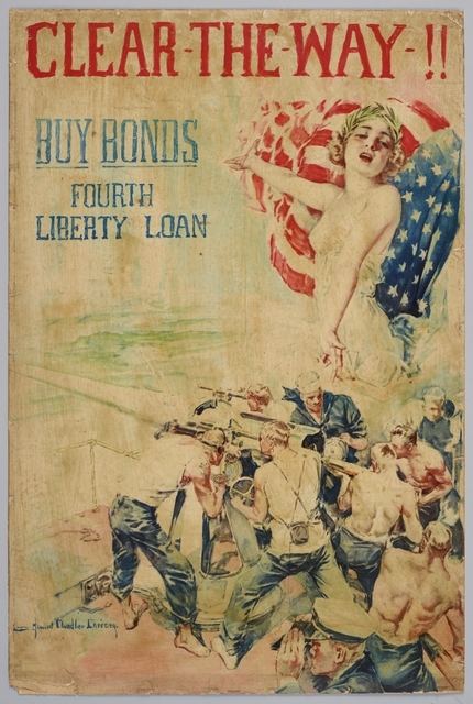 Poster featuring a provocative young woman exhorting soldiers to fight.