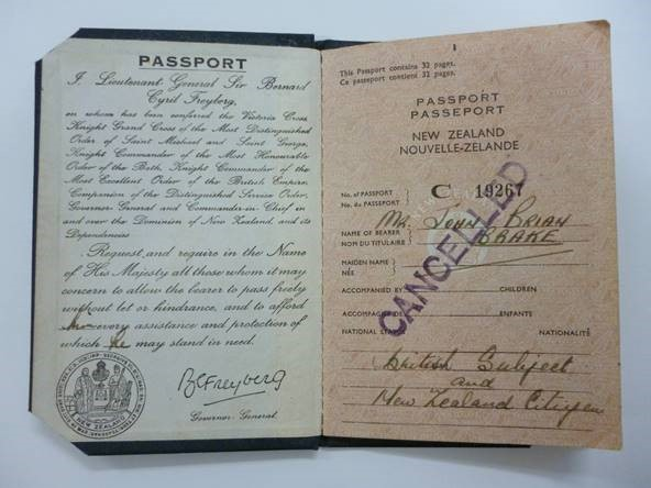 British Passport New Zealand, 20 June 1951-20 June 1956, by Department of Internal Affairs. Te Papa (CA000826/001/0001)