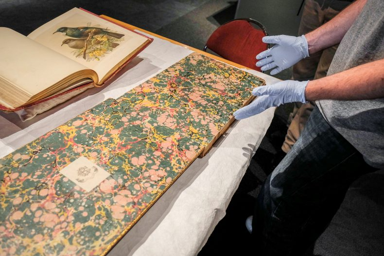 Martin wearing his blue conservator's gloves shows a large book with a colourful marbled end-paper