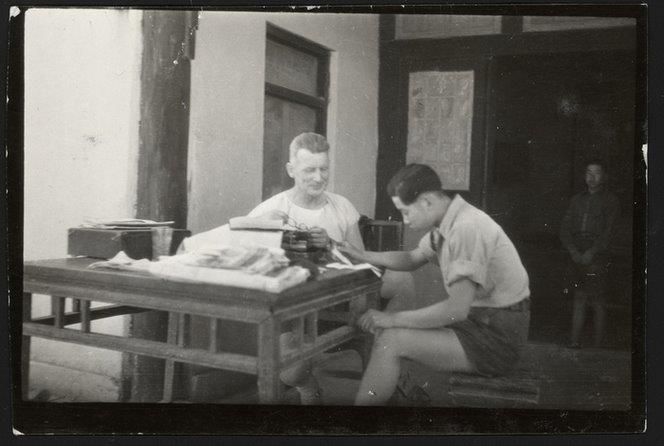 Rewi Alley teaching at Shandan School, Gansu, China