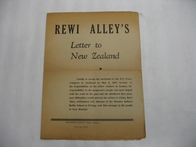 'Rewi Alley's Letter to New Zealand' pamphlet