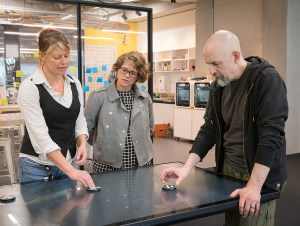 The author, Te Papa's Chief Digital Officer Melissa FIrth, and Neal Stevenson in Hīnātore, our learning lab, 2017. Te Papa