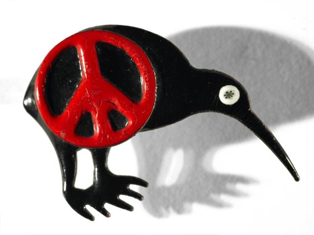 Red CND symbol over a black kiwi enamel brooch