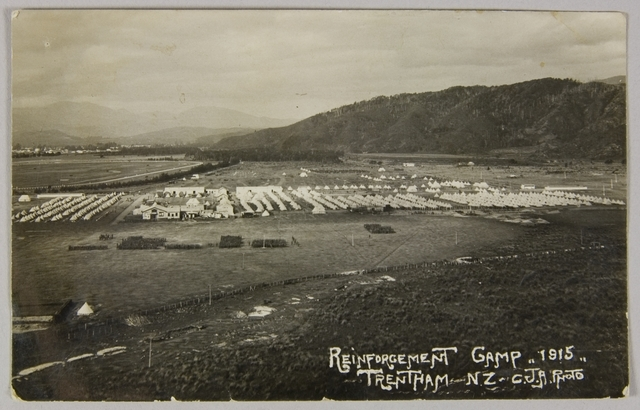Postcard, 'Reinforcement Camp, 1915, Trentham, NZ', WWI, 1916-1918, Upper Hutt, maker unknown. Purchased 2009. Te Papa (PH000709/18)