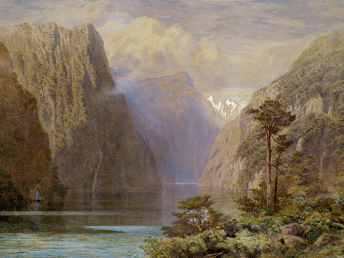 Watercolour painting of Milford Sound in 1883