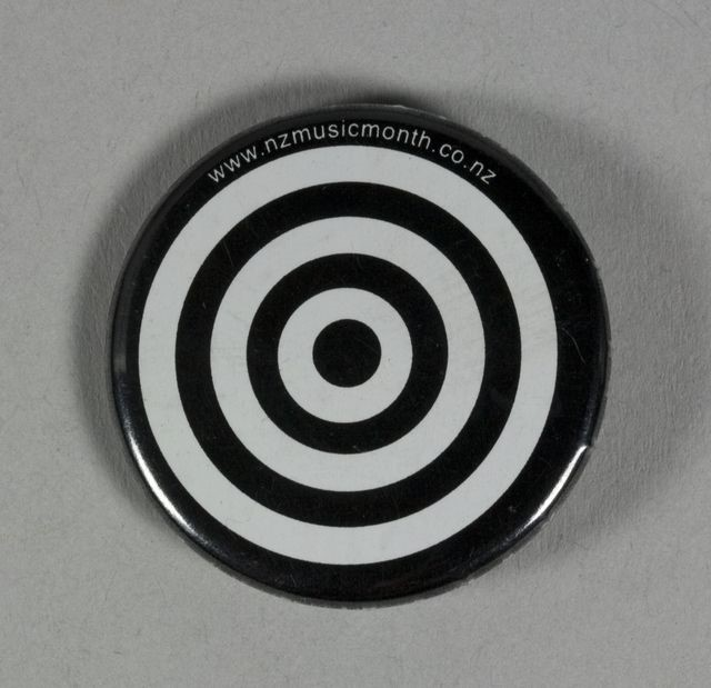 Badge of black and white circles and the website listing www.nzmusicmonth.co.nz