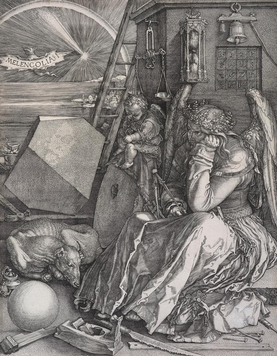 Melencolia I, 1514, by Albrecht Dürer. Gift of Sir John Ilott, 1959. Te Papa (1959-0023-1)