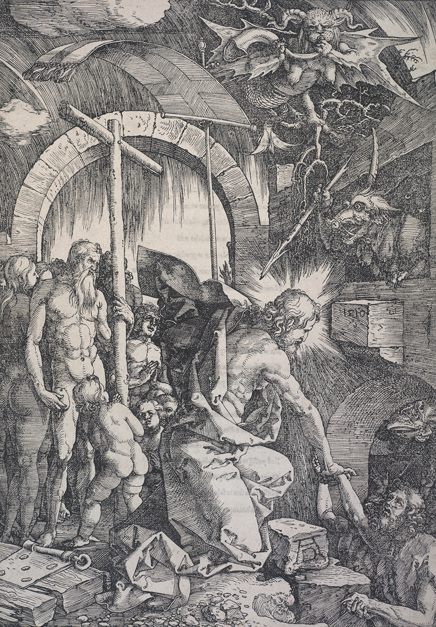 Christ in Limbo (a.k.a. The harrowing of Hell). From: The large Passion, 1510, by Albrecht Dürer. Gift of Sir John Ilott, 1966. Te Papa (1966-0005-2)