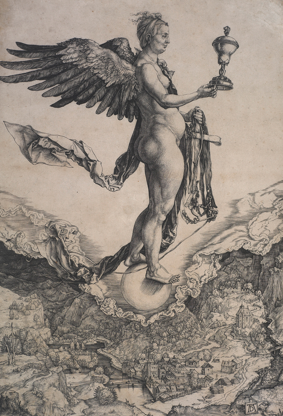 Print of a powerful, middle-aged female figure, nude and winged, straddles a globe