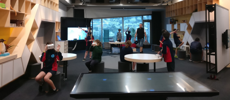 Hīnātore during a virtual reality game design session, 2017. Te Papa