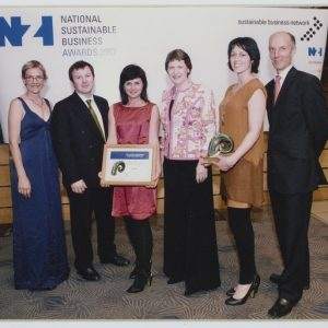 CA001203/001/0001 –Digital copy of a photograph of Laurie Foon and Rena Kohere receiving the National Sustainable Business Award 2007; 2007; Unknown (Starfish was the first fashion label to win a NZ Sustainable Business Award.)