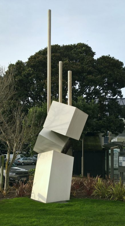 Outdoor sculpture of cubes and poles