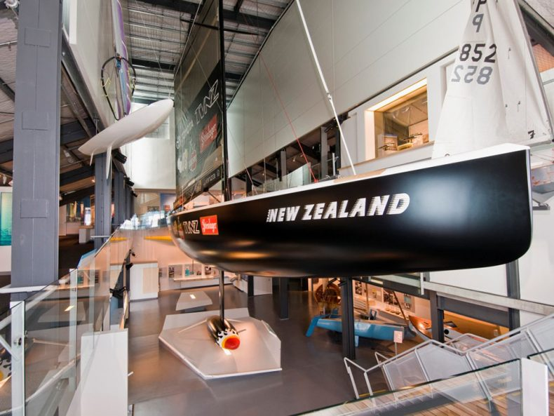The Black Magic boat on display in the Maritime Museum