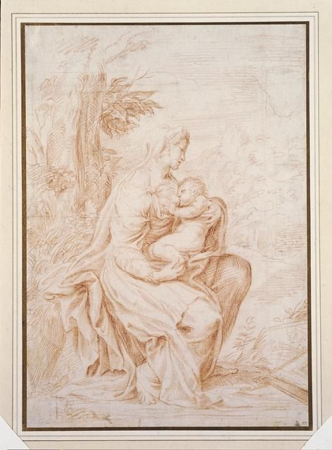 Drawing of the Madonna nursing Christ