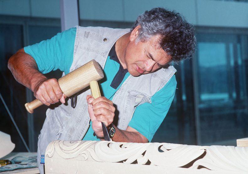 Man carves