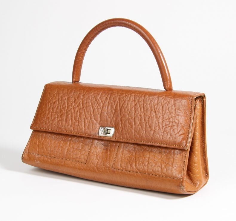 Brown leather handbag