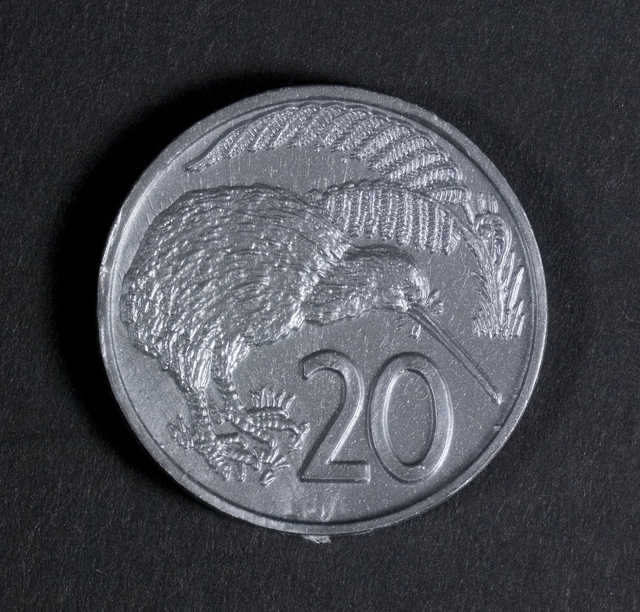 Practice money, 20c coin, 1967, New Zealand, by Decimal Currency Board. Te Papa (GH023090/17)