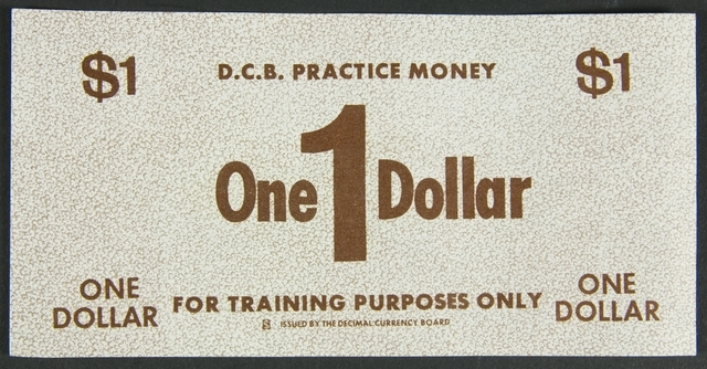 Practice money, $1 note, 1967, New Zealand, by Decimal Currency Board. Te Papa (GH023090/8)
