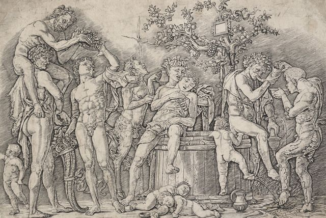 Male and female figures drunk around a barrel of wine