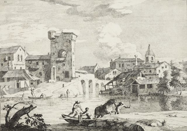 Etching landscape of buildings by water with boats on it, there is a horse being led from the water in the foreground