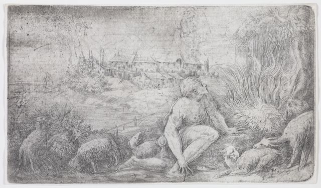 An etching of Moses surrounded by sheep