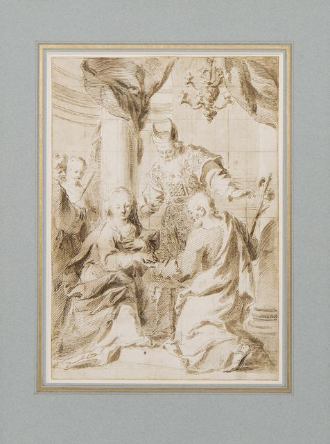 Etching of Mary and Joseph exchange vows, a bishop-like figure acts as the celebrant