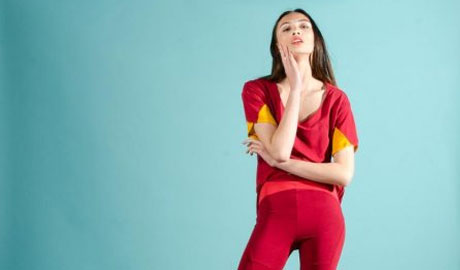 Model wearing red