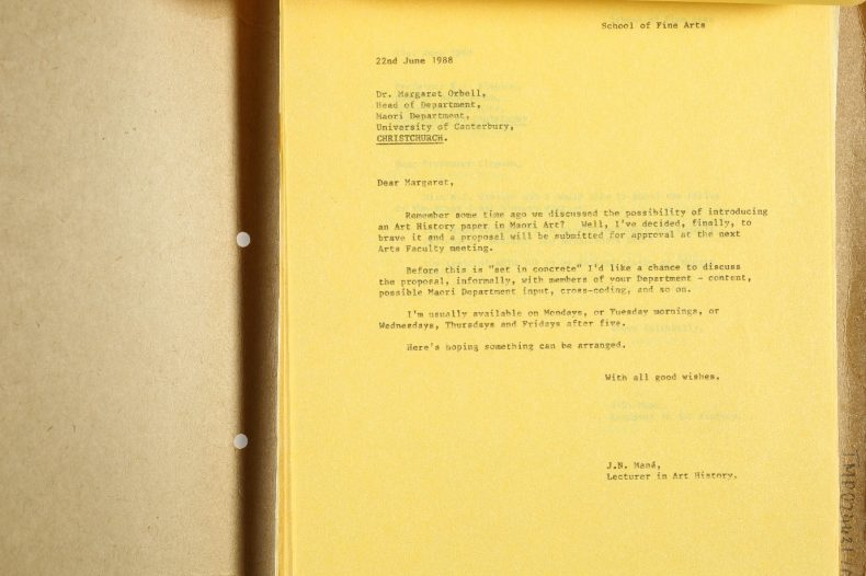 Letter written with a typewriter on yellow paper