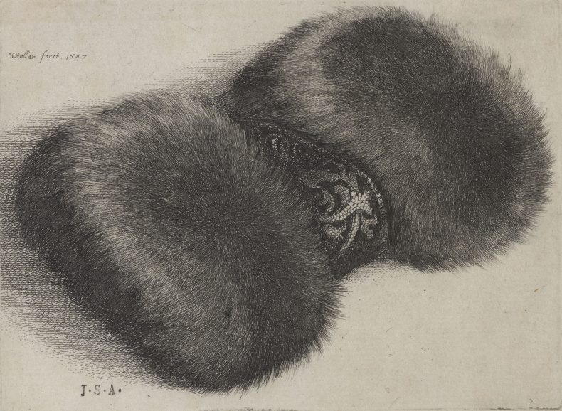 Etching of some furry hand muffs