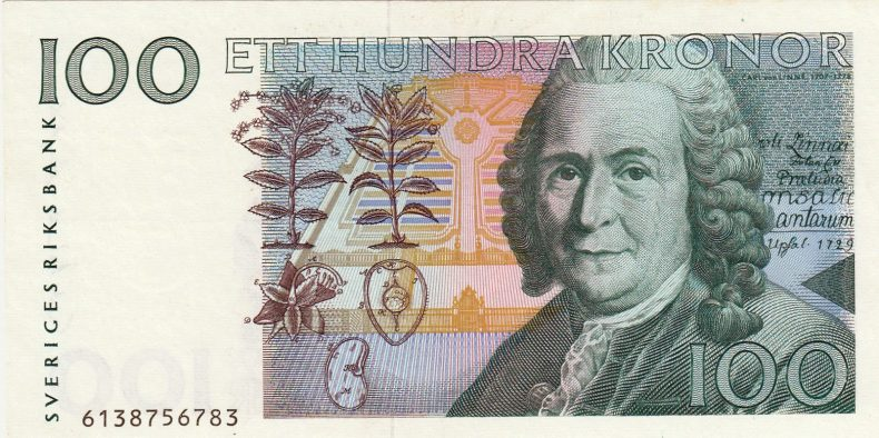 Carl Linnaeus on Swedish 100 kronor banknote