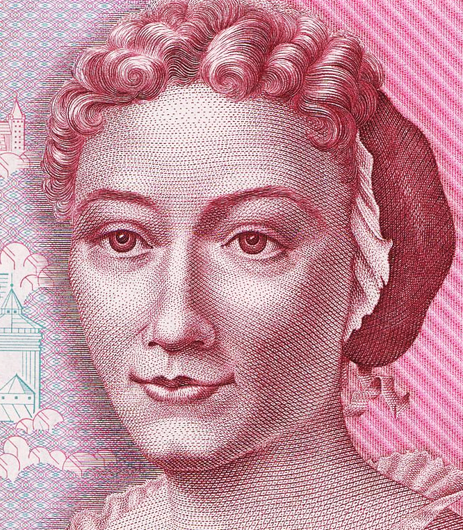 Detail of 500DM banknote, featuring a portrait of Maria Sibylla Merian