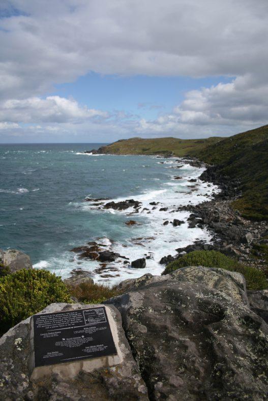 A verdant, rocky coastline