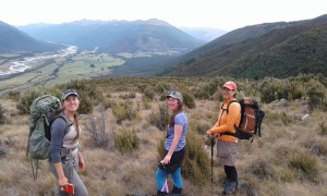 Botany girl power! Zuri, Jessie and Heidi searching for Myosotis laeta in the Red Hills, January 2017. Photo by Ant Kusabs @ Te Papa (SP105625).