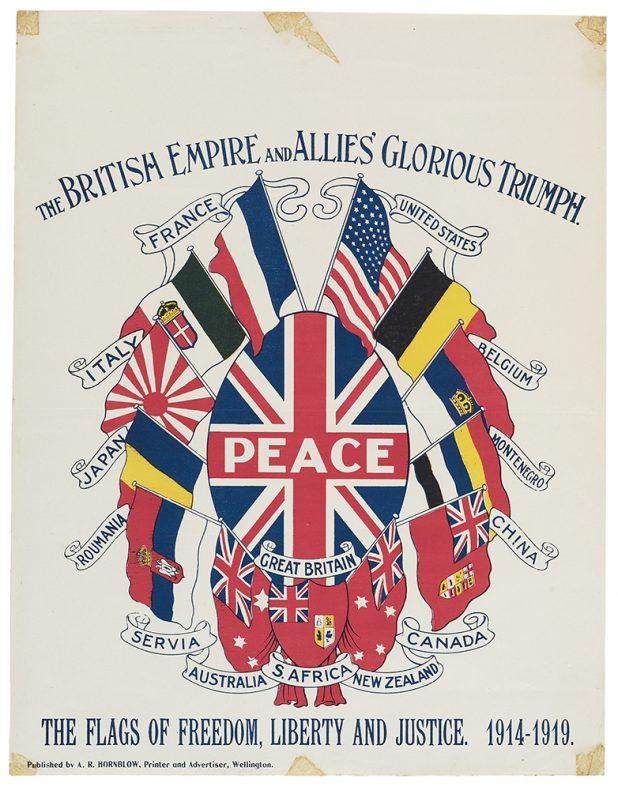 Poster featurign the flags of the Allies nations