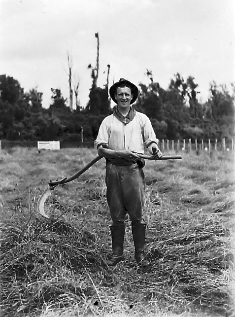 Man stands in a field holding a scythe
