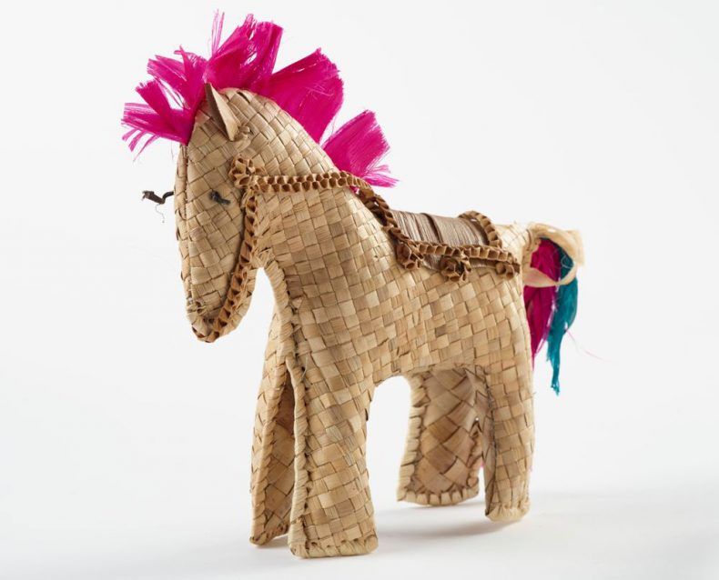 Woven horse with a pink mane